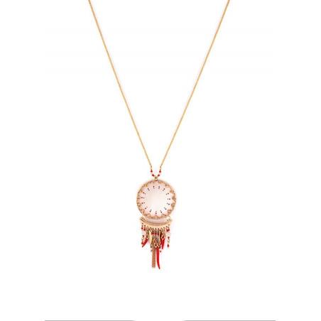 Collier pendentif ethnique nacre blanche et bijoux | rouge