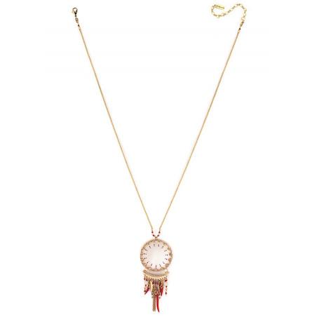 Collier pendentif ethnique nacre blanche et bijoux | rouge73564