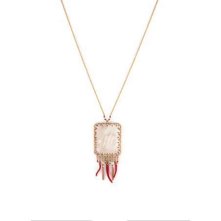 Graphic white mother-of pearl pendant necklace  red