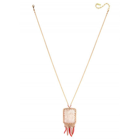 Graphic white mother-of pearl pendant necklace  red73572