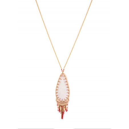 Graphic white mother- of-pearl pendant necklace| red
