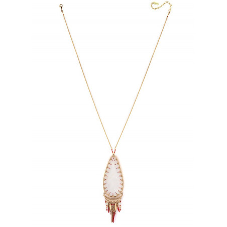 Graphic white mother- of-pearl pendant necklace| red73579