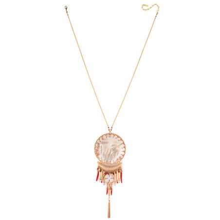 Ethnic chic white mother- of-pearl pendant necklace| red
