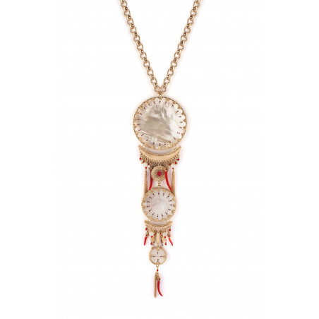 Signature white mother-of-pearl breastplate necklace| red