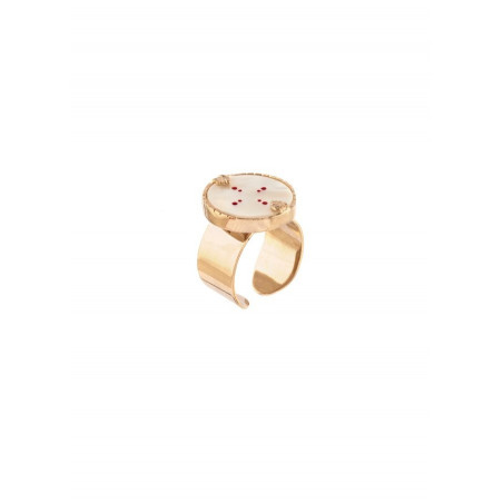 Refined white mother-of-pearl and gold metal ring   red