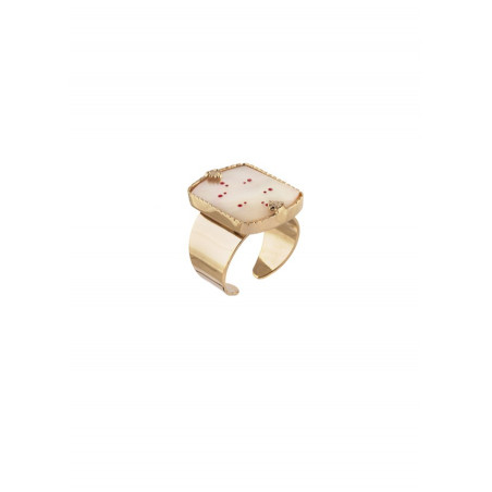 Graphic white mother-of-pearl and gold metal ring | red