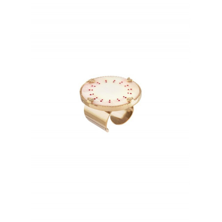 On-trend white mother-of-pearl and gold metal ring   red
