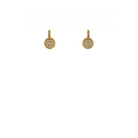 Boucles d'oreilles dormeuses élégantes nacre métal doré   nacre