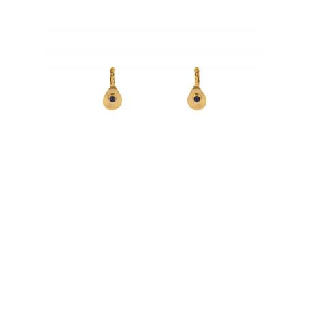 Boucles d'oreilles dormeuses féminines métal martelé lapis lazuli | bleu