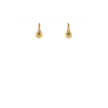 Boucles d'oreilles dormeuses bohèmes métal martelé howlite   turquoise