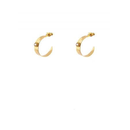 Boucles d'oreilles créoles poétiques métal doré nacre blanche   nacre