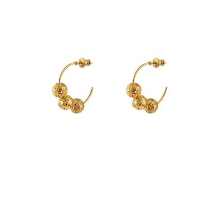 Boucles d'oreilles créoles fines métal doré ajouré | doré