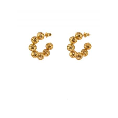 Boucles d'oreilles créoles féminines métal doré ajouré | doré