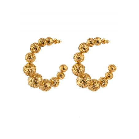 Glamorous gold-plated metal openwork hoop earrings| gold