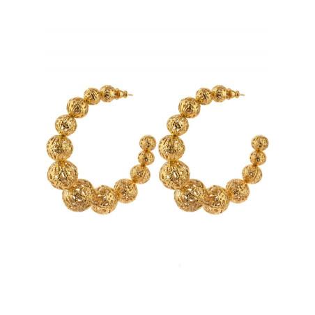 Boucles d'oreilles créoles raffinées métal doré ajouré | doré