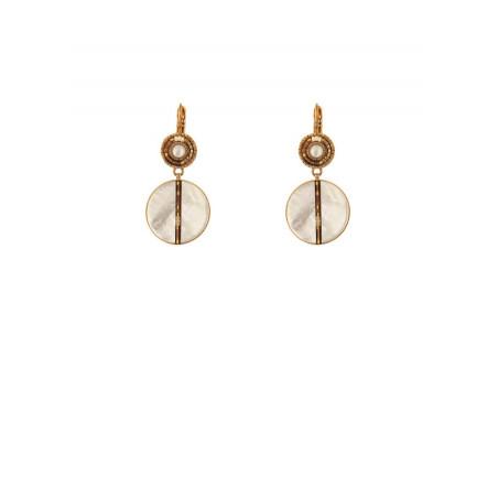 Boucles d'oreilles dormeuses féminines perles du Japon et nacre   blanc