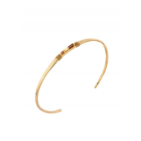 Bracelet jonc élégant perles du Japon | marron