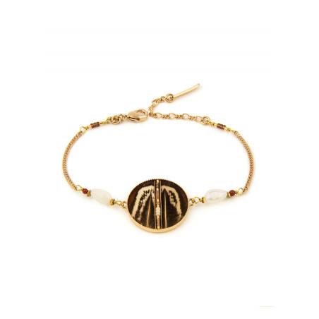 Ethnic feather and jasper flexible bracelet | brown