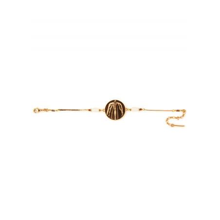 Ethnic feather and jasper flexible bracelet | brown74069