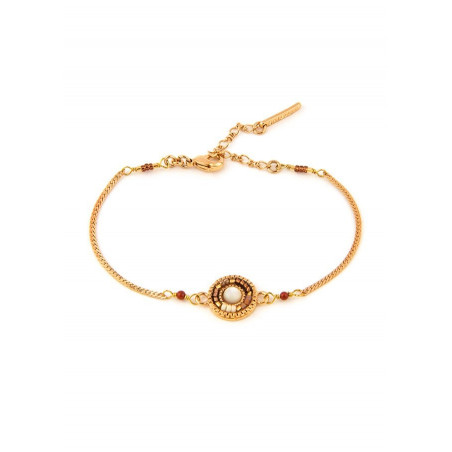 Feminine red jasper, mother-of-pearl and Japanese bead flexible bracelet | brown