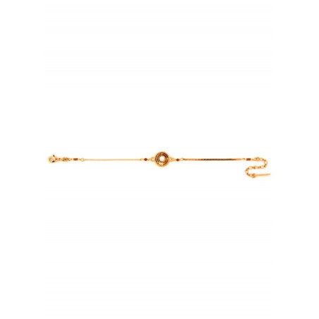 Feminine red jasper, mother-of-pearl and Japanese bead flexible bracelet | brown74081