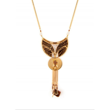 On-trend feather mother-of-pearl and chain pendant necklace | brown