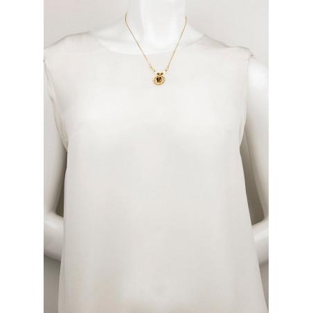 Collier pendentif bohème-chic plumes et nacre   beige74230