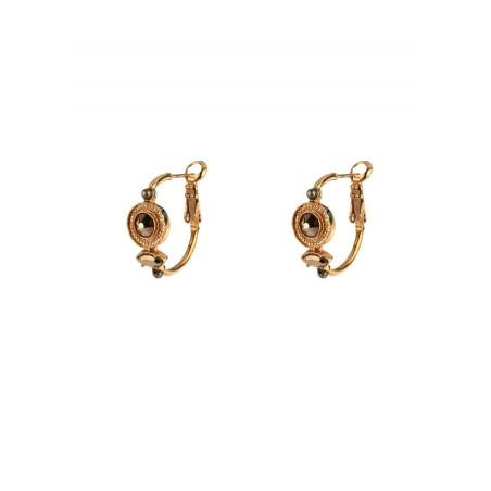 Boucles d'oreilles créoles percées raffinées cristal et pyrite   doré