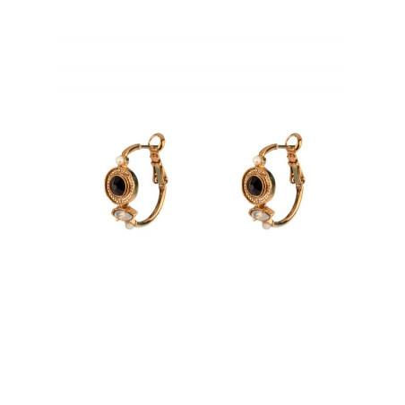 Boucles d'oreilles créoles glamour cristal et perle de nacre   noir
