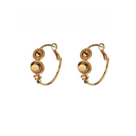 Boucles d'oreilles créoles percées glamour cristal et pyrite | doré