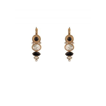 Sophisticated crystal and mother-of-pearl sleeper earrings | black