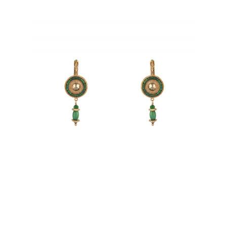 Boucles d'oreilles dormeuses mode jaspe et jade   vert