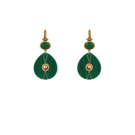 Boucles d'oreilles dormeuses arty malachite et cristal | vert
