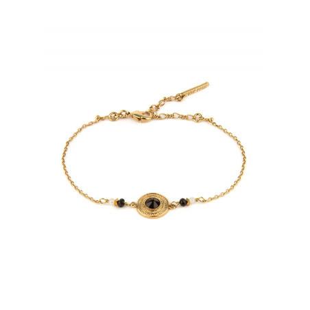 Elegant crystal, onyx and mother-of-pearl flexible bracelet | black