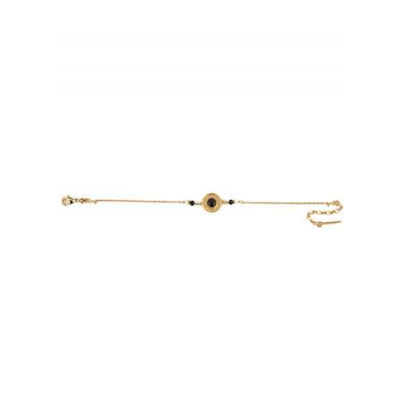 Elegant crystal, onyx and mother-of-pearl flexible bracelet | black74443