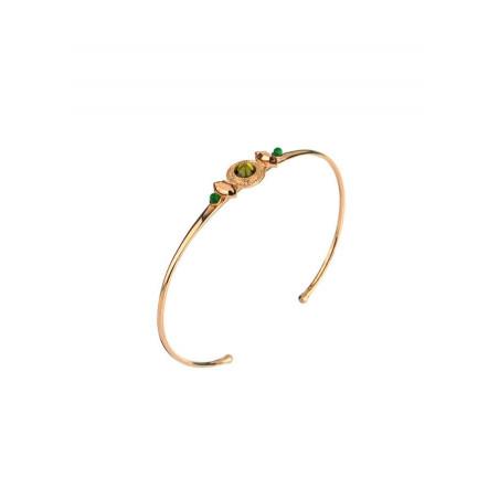 Bracelet jonc tendance cristal et pyrite   vert