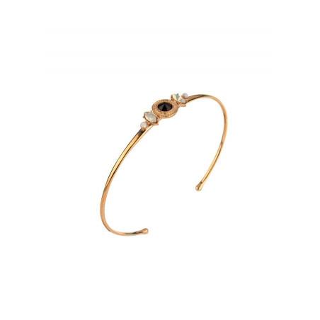 Bracelet jonc glamour cristal et perles de nacre   noir