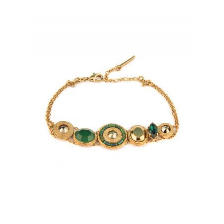 Glamorous bracelet with crystals and Japanese beads l green