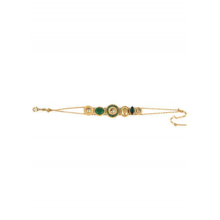 Glamorous bracelet with crystals and Japanese beads l green74483