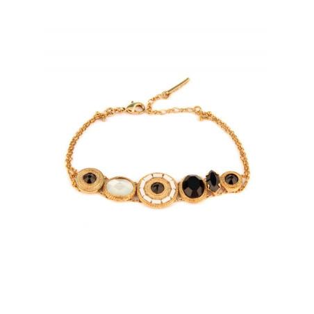 Bracelet mode nacre et cristaux   noir