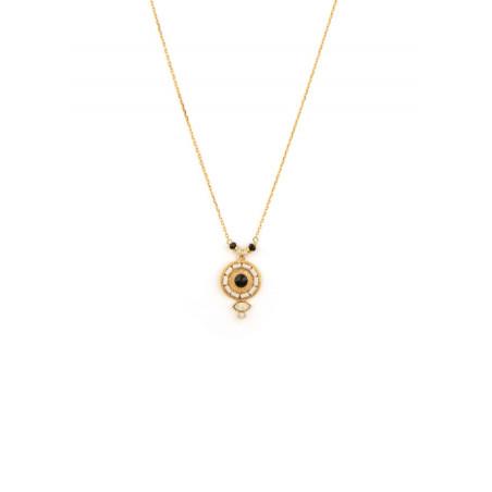 Collier pendentif poétique onyx, perles du Japon et nacre   noir