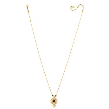 Collier pendentif poétique onyx, perles du Japon et nacre   noir74534