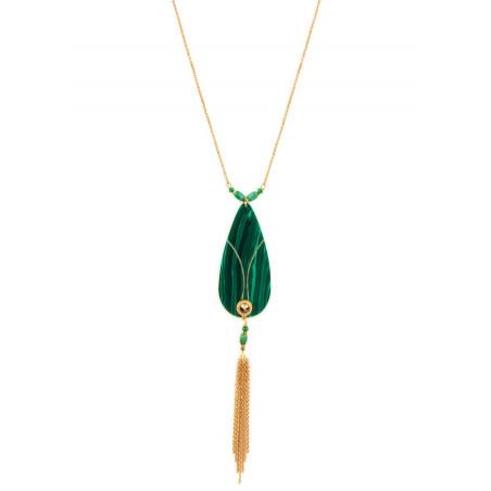 Collier sautoir glamour malachite et cristal   vert
