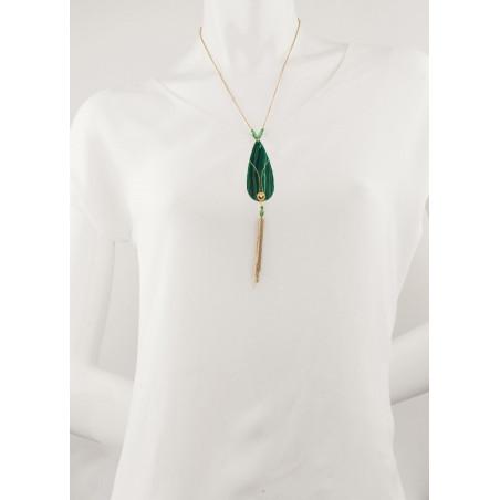 Collier sautoir glamour malachite et cristal   vert74570