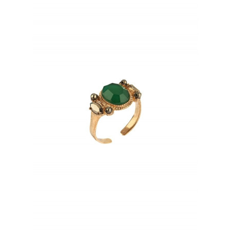 Contemporary pyrite crystal adjustable ring | green