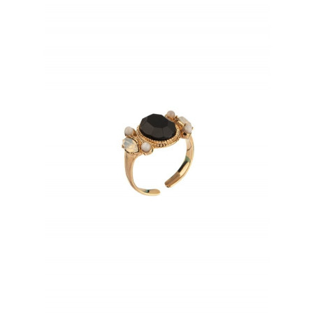 Glamorous mother-of-pearl and crystal adjustable ring   black