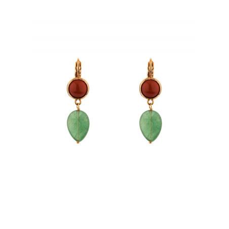 Fashionable aventurine and jasper sleeper earrings l multicoloured