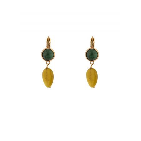 Refined sleeper earrings with jade and jasper l green