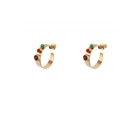 Boucles d'oreilles créoles percées fantaisies grenat et jade | multicolore