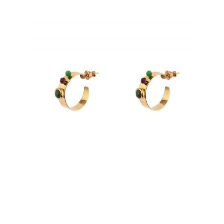 Boucles d'oreilles créoles percées mode labradorite et jade | vert